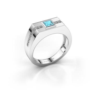Foto van Heren ring Robertus 2 585 witgoud blauw topaas 4 mm