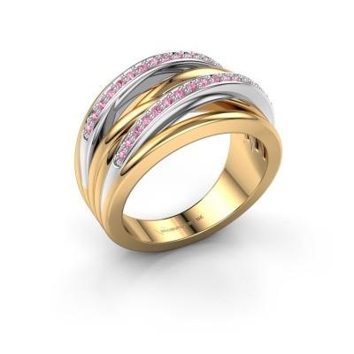 Foto van Ring Annabel 2 585 goud roze saffier 1.2 mm