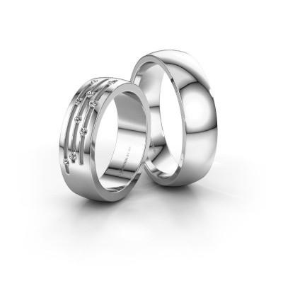 Foto van Huwelijksringen set WH0134LM26BP ±6x2 mm 14 karaat goud diamant 0.012 crt