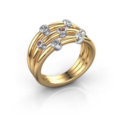 Bague Chloe 585 or jaune diamant brun 0.18 crt