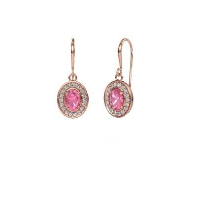 Oorhangers Layne 1 375 rosé goud roze saffier 6.5x4.5 mm