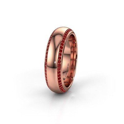 Wedding ring WH6132L36C 375 rose gold ruby ±6x2.2 mm
