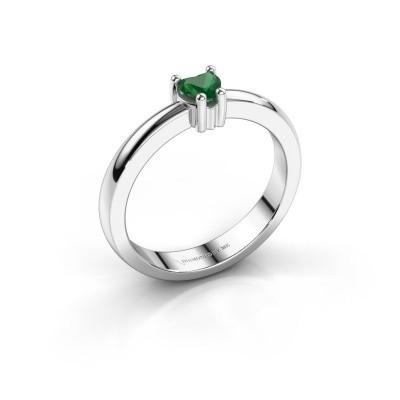 Foto van Aanzoeksring Florentina heart 585 witgoud smaragd 4 mm