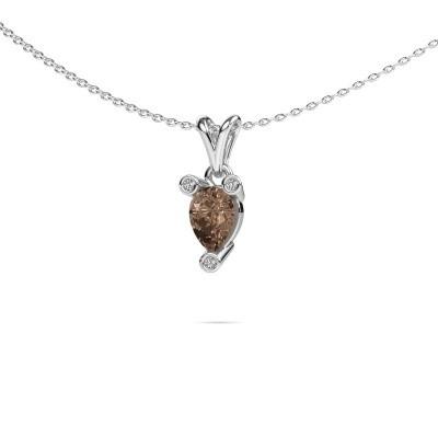 Foto van Ketting Cornelia Pear 585 witgoud bruine diamant 0.67 crt