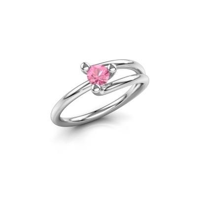 Foto van Verlovingsring Roosmarijn 585 witgoud roze saffier 4 mm