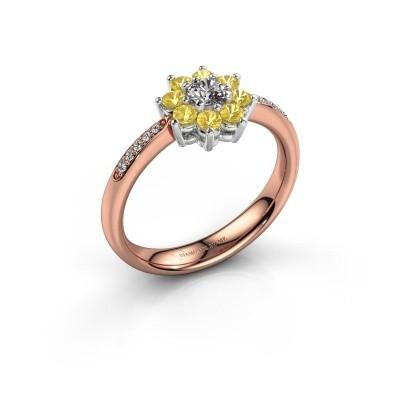 Verlovingsring Camille 2 585 rosé goud gele saffier 3.4 mm