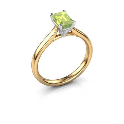 Verlovingsring Mignon eme 1 585 goud peridoot 6.5x4.5 mm