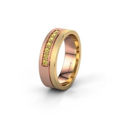 Trouwring WH0312L16AM 585 rosé goud gele saffier ±6x1.7 mm