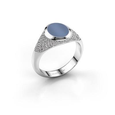 Pinkring Giovani 375 witgoud licht blauwe lagensteen 10x8 mm