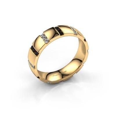 Huwelijksring Juul 375 goud zwarte diamant ±5x1.8 mm