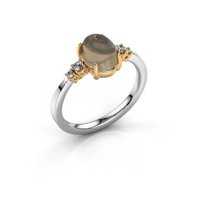 Ring Jelke 585 white gold smokey quartz 8x6 mm