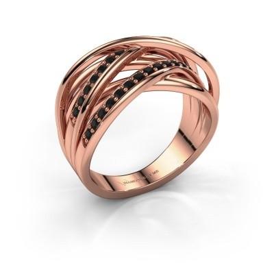 Ring Fem 2 375 rose gold black diamond 0.540 crt