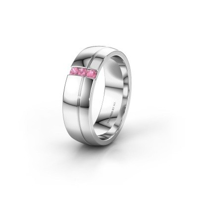 Wedding ring WH0223L56A 585 white gold pink sapphire ±0.24x0.07 in