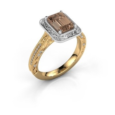 Verlovings ring Alice EME 585 goud bruine diamant 1.255 crt