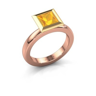 Stapelring Trudy Square 585 rosé goud citrien 6 mm