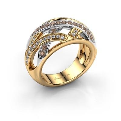 Ring Yinthe 585 goud bruine diamant 0.60 crt