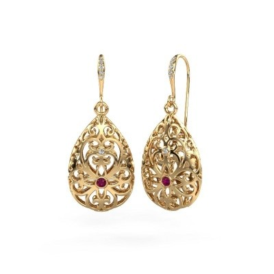 Picture of Drop earrings Idalia 2 585 gold rhodolite 2 mm