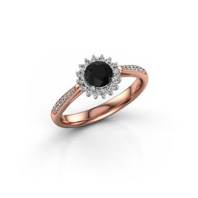 Foto van Verlovingsring Mariska 2 585 rosé goud zwarte diamant 0.60 crt