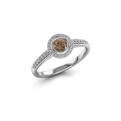 Engagement ring Noud 2 RND 585 white gold brown diamond 0.39 crt