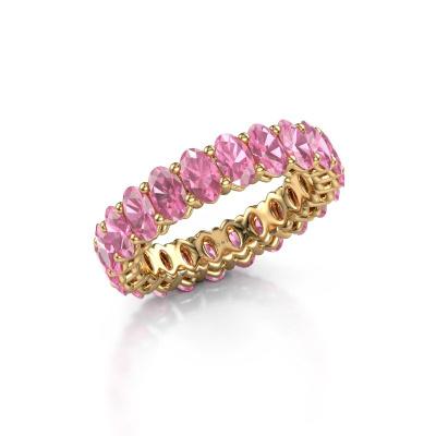 Aanschuifring Heddy OVL 3x5 585 goud roze saffier 5x3 mm