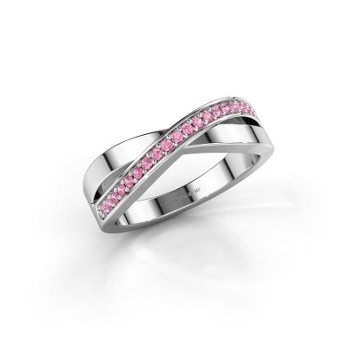 Foto van Ring Kaley 585 witgoud roze saffier 1.2 mm