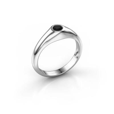 Foto van Pinkring Thorben 950 platina zwarte diamant 0.30 crt