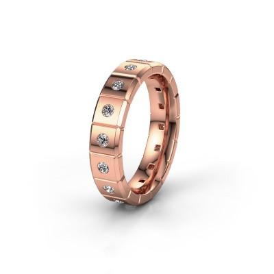 Huwelijksring WH2055L15DP 375 rosé goud diamant ±5x2.4 mm