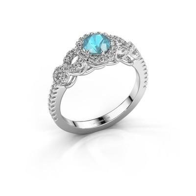 Engagement ring Sasja 950 platinum blue topaz 5 mm