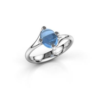 Ring Nora 950 platina blauw topaas 8x6 mm