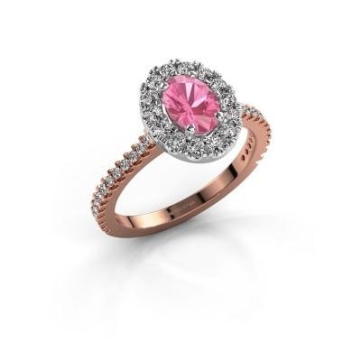 Foto van Verlovingsring Jorinda 2 585 rosé goud roze saffier 7x5 mm