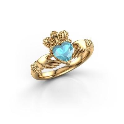 Foto van Ring Claddagh 2 585 goud blauw topaas 6 mm