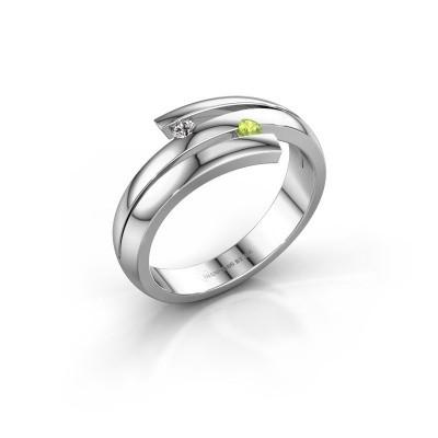 Ring Dena 585 witgoud peridoot 2 mm