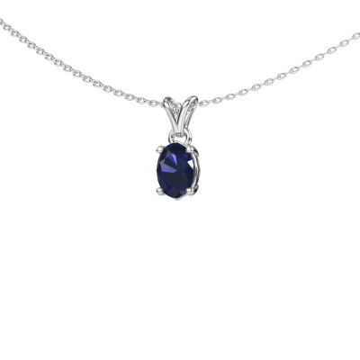 Ketting Lucy 1 925 zilver saffier 7x5 mm