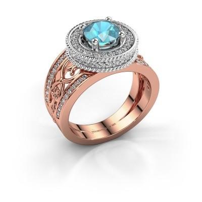 Ring Joy 585 Roségold Blau Topas 6.5 mm