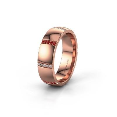 Trouwring WH2124L26B 375 rosé goud robijn ±6x2 mm