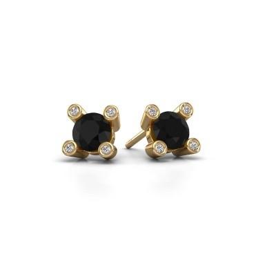 Bild von Ohrsteckers Cornelia Round 375 Gold Schwarz Diamant 0.96 crt