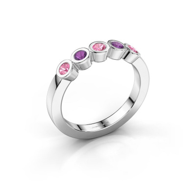 Ring Nova 925 silver pink sapphire 3 mm