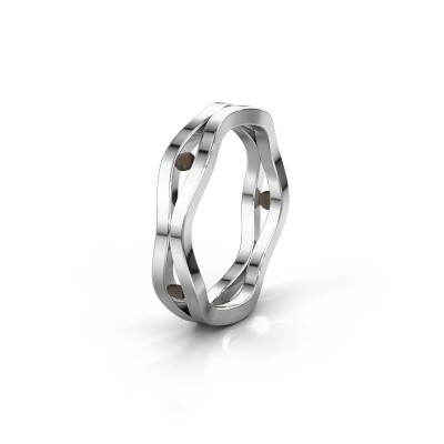 Trouwring WH2122L 925 zilver rookkwarts ±5x1.8 mm