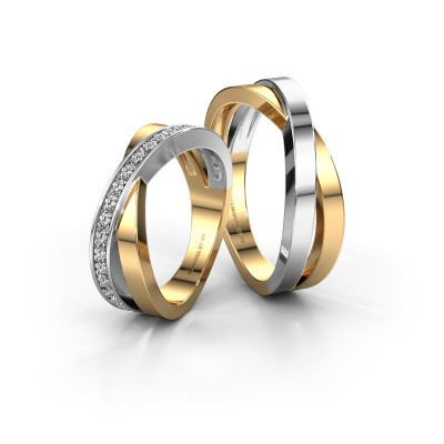 Foto van Trouwringen set WHR0360LM ±6x2.8 mm 14 karaat goud diamant 0.015 crt