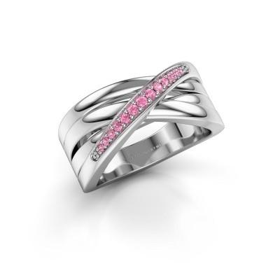 Ring Renna 2 585 witgoud roze saffier 1 mm