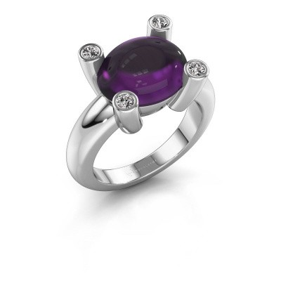 Ring Janice OVL 950 platinum amethyst 12x10 mm