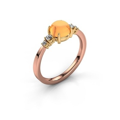 Ring Regine 585 rosé goud citrien 6 mm