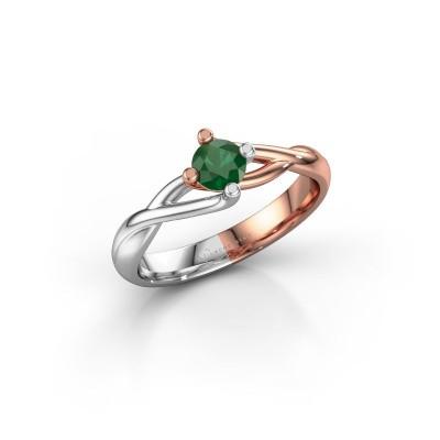 Foto van Ring Paulien 585 rosé goud smaragd 4.2 mm