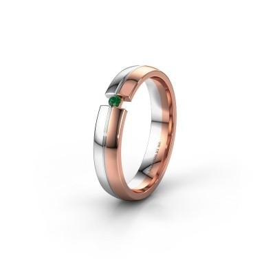 Trouwring WH0254L24X 585 rosé goud smaragd ±4x1.5 mm