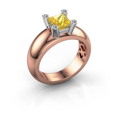 Ring Cornelia Square 585 rose gold yellow sapphire 5 mm