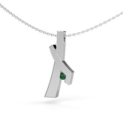 Foto van Hanger Alyssa 585 witgoud smaragd 2.7 mm