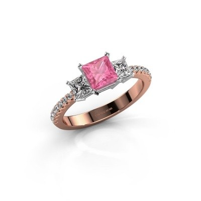 Engagement ring Dorla 585 rose gold pink sapphire 5 mm