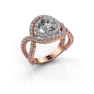Ring Chau 585 rosé goud zirkonia 7x5 mm