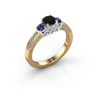 Foto van Verlovingsring Donna 585 goud zwarte diamant 0.787 crt