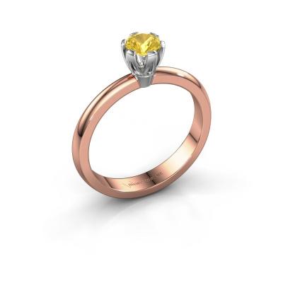 Verlovingsring Julia 585 rosé goud gele saffier 4 mm